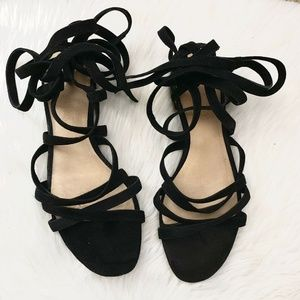 Madewell Holly Black Lace Up Suede Flat Sandal